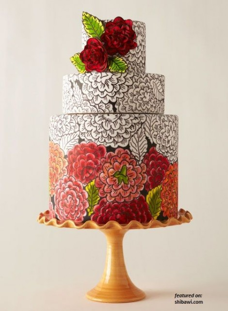 wedding cake ideas hand painted