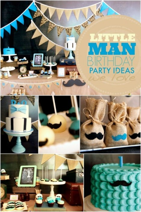 little man-first birthday theme