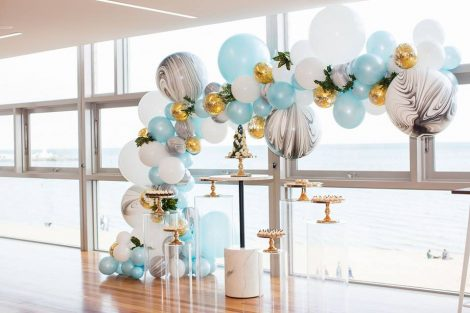 yellow and blue color theme baby shower