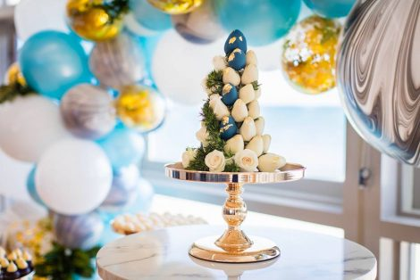 blue and yellow color theme baby shower